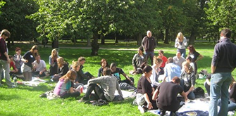 The Lucky Voice crew having a picnic in the park